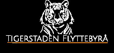 Tigerstaden flyttebyrå logo - hvit
